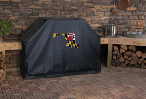 Maryland State Outline Flag Grill Cover
