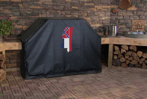 Mississippi State Outline Flag Grill Cover
