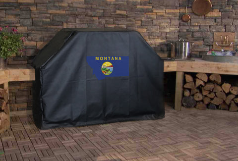 Montana State Outline Flag Grill Cover