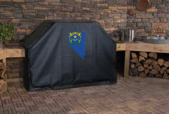 Nevada State Outline Flag Grill Cover