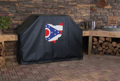 Ohio State Outline Flag Grill Cover
