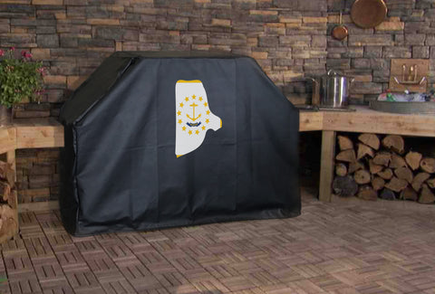 Rhode Island State Outline Flag Grill Cover