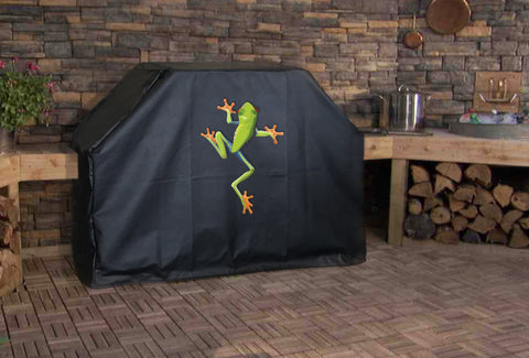 Tropical Tree Frog Climbing BBQ Grill Cover