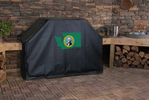 Washington State Outline Flag Grill Cover