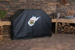 West Virginia State Outline Flag Grill Cover