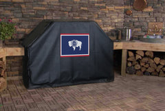 Wyoming State Outline Flag Grill Cover