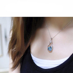 Blue Crytal Heart Love Drift Bottle Necklace