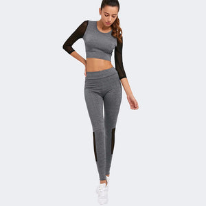 Long Sleeved Yoga Set With Slim Yoga Pants