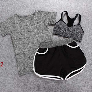 3 Piece Yoga Set Including Bra, Short-sleeved T-Shirt & Shorts