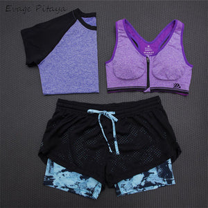 3 Piece Yoga Set - T-Shirt, Bra & Cropped Trousers