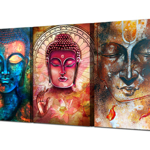 Tri Piece Buddha Portrait Painting