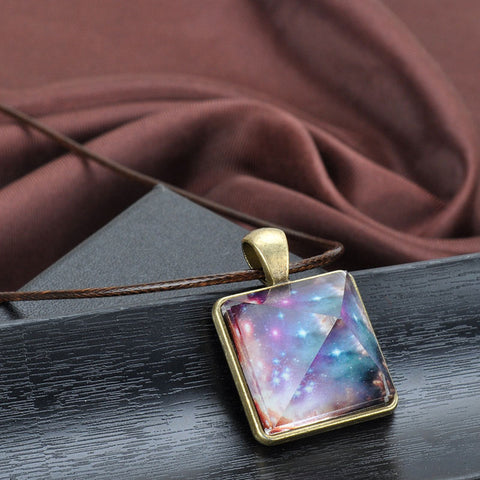 Glowing Crystal Pyramid Pendant Necklace