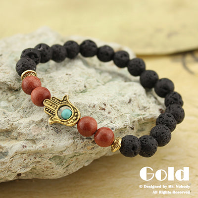 Lava Stone Yoga Energy Beaded Bracelet - Antique Gold or Silver
