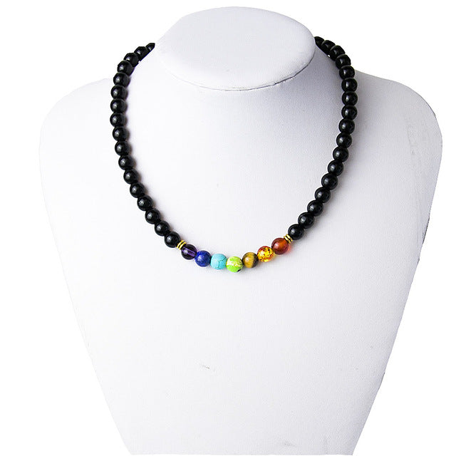 Black Onyx 8MMM Beads 7 Chakra Wisdom Yoga Meditation Necklace