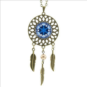 Dreamcatcher Pendant Mandala Lotus Pendant Necklace