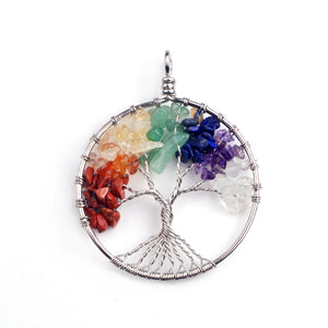 7 Chakra Reiki Healing Rainbow Life Tree Yoga Necklace