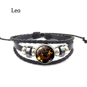 Zodiac Glass Buckle Leather Bracelet