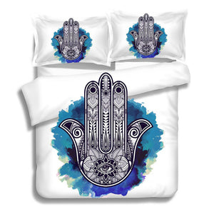 BLUE MANDALA HAMSA HAND BED SET
