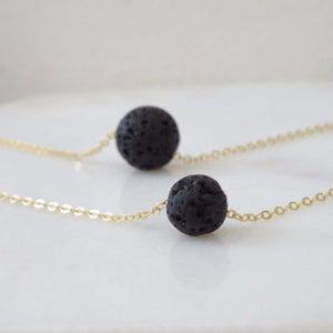 MULTILAYER BLACK LAVA STONE ESSENTIAL OIL DIFFUSER NECKLACE