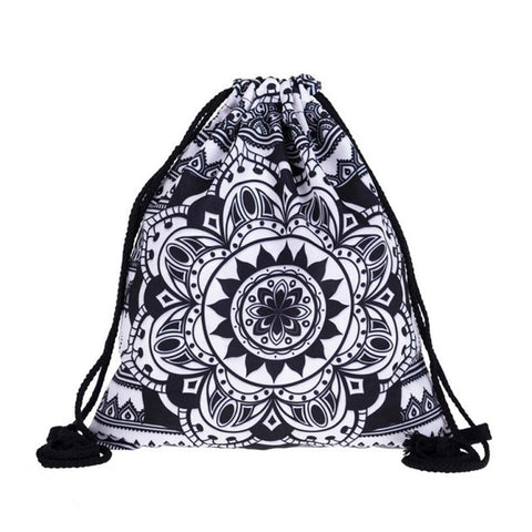 Women Casual Drawstring Bag Sackpack Mandala 3D Printing Backpack Unisex Travel Bag Beach Bag Girls Ladies School Fresh Bag