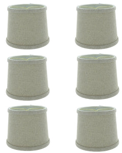 6 Inch Set of 6 Beige Linen Drum Shaped Chandelier Lampshade