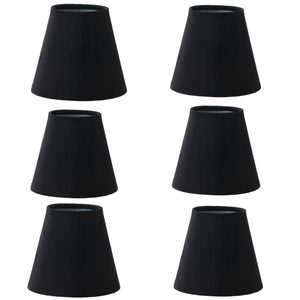 UpgradeLights Set of 6 Shades 5 Inch European Drum Style Chandelier Lamp Shade Mini Shade Black Silk
