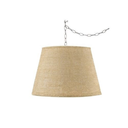 UpgradeLights Beige Burlap 14 Inch Drum Portable Swag Lampshade