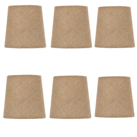 UpgradeLights Beige Burlap 4 Inch European Drum Style Chandelier Lamp Shades (Set of 6)