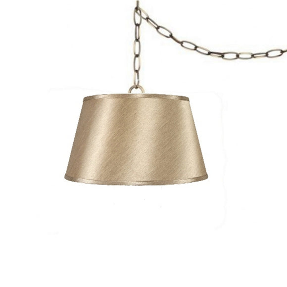 UpgradeLights Satin Sand 19 Inch Drum Portable Swag Lamp Shade