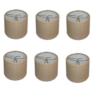 UpgradeLights Beige Burlap 6 Inch European Drum Chandelier Lamp Shades (Set of 6) with Matching Chain Cover
