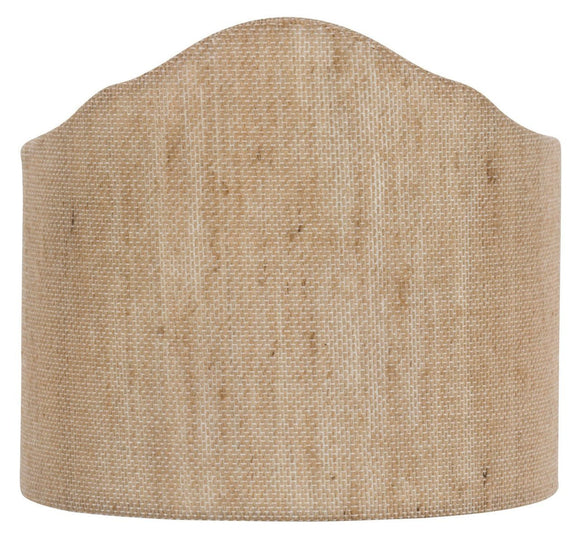 Upgradelights Beige Linen 6 Inch Wall Sconce Clip on Shield Lamp Shade with scalloped design