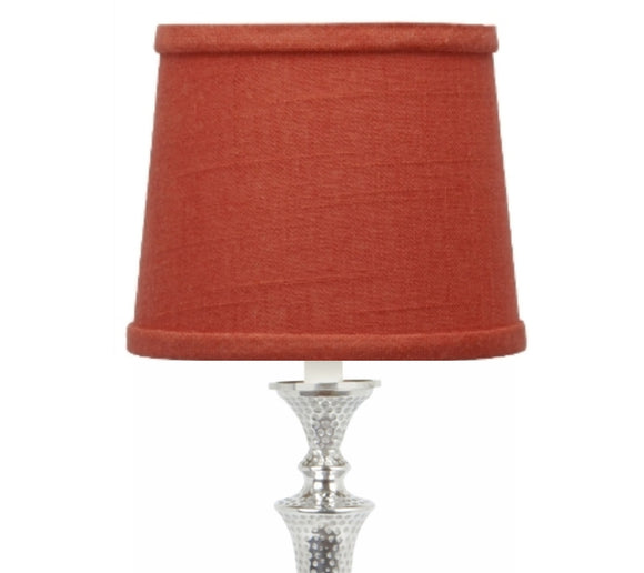 UpgradeLights Red Linen 10 Inch European Drum Lampshade with Slip Uno Fitter