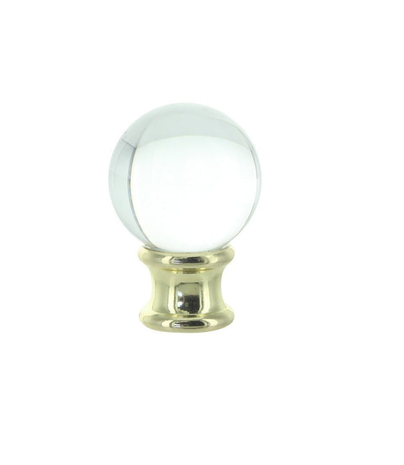 Upgradelights Clear Crystal Orb Finial with Polished Brass Base
