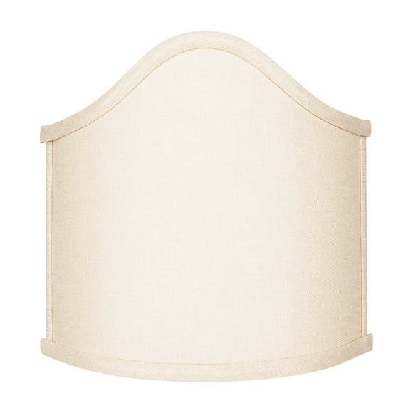 Wall Sconce Larger Shield Clip On Lamp Shade with Scalloped Design (Beige Linen)
