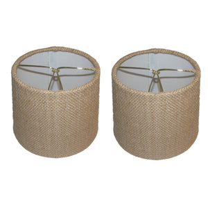 UpgradeLights Beige Burlap 6 Inch European Drum Style Chandelier Lamp Shades (Set of 2)