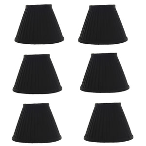 UpgradeLightsÌÎå«Ì´å Silk Side Pleat 5 Inch Black with Gold Chandelier Shade Mini Clip on Set of 6