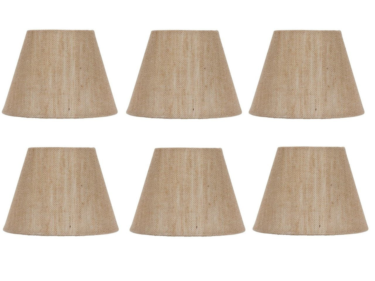 Set of six european drum style chandelier lamp shades 6 inch upgradelights set of six european drum style chandelier lamp shades 6 inch natural burlap clips onto mozeypictures Choice Image