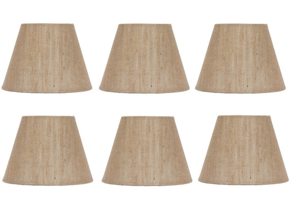 UpgradeLights Set of Six European Drum Style Chandelier Lamp Shades 6 Inch Natural Burlap Clips Onto Bulb