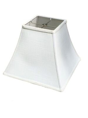 Upgradelights White Linen 12 Inch Square Bell Washer Lampshade Replacement 6x12x10