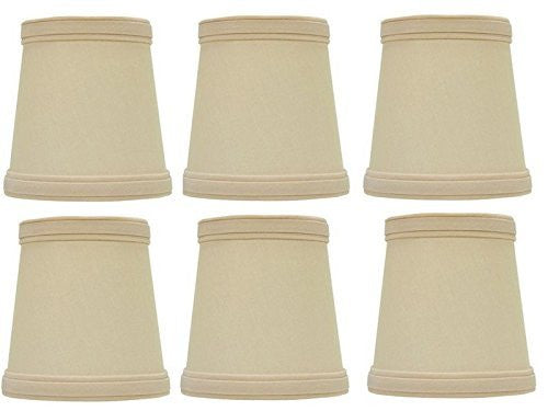 UpgradelightsÌÎå«Ì´å Beige Silk 4 Inch English Barrel Clip on Chandelier Lampshades (Set of 6)