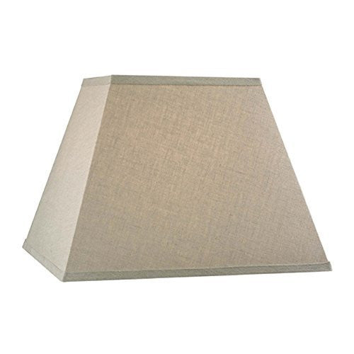 Upgradelights Beige Linen Square Mission Style 12 Inch Nickel Plated Washer Fitted Lampshade