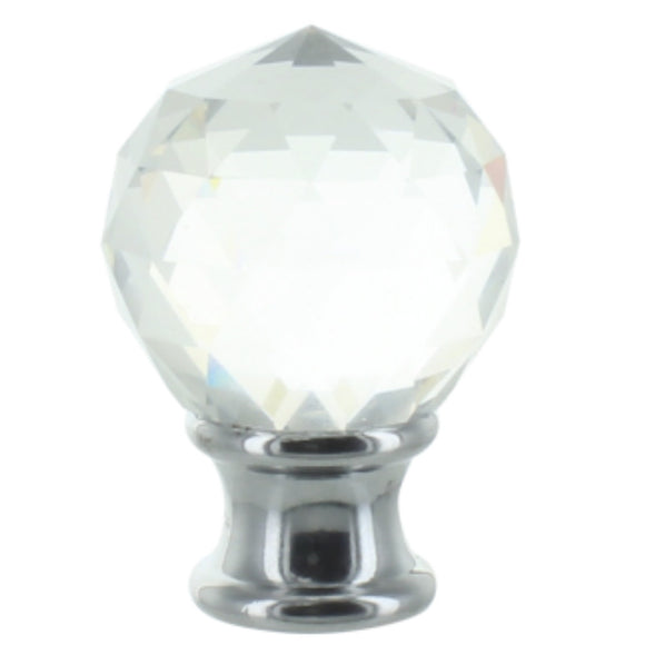 Upgradelights Clear Faceted Crystal Orb Finial with Chrome Base