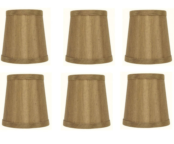 Upgradelights 4 Inch Empire Clip on Chandelier Lampshade Replacement (Set of 6) (Copper)