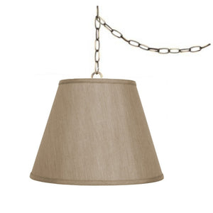 "Tan 16"" Swag Lamp Lighting Fixture Hanging Plug-in"