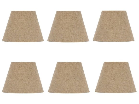 UpgradeLights Set of Six European Drum Style Chandelier Lamp Shade 6 Inch Beige Linen Clips Onto Bulb