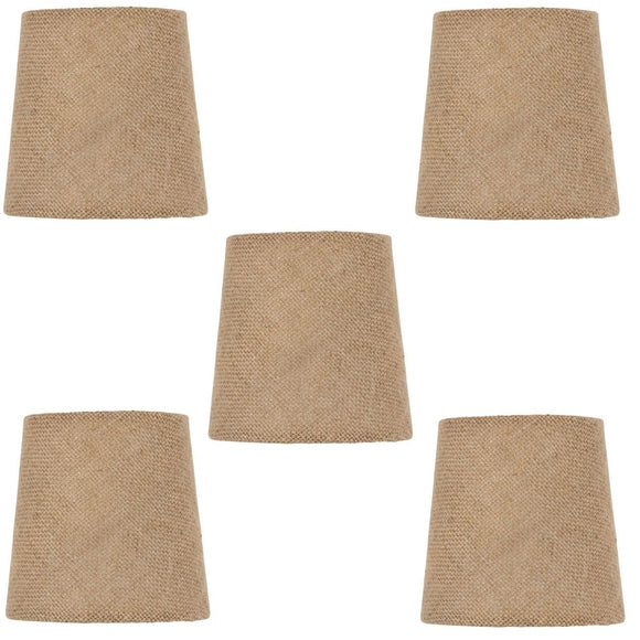 UpgradeLights Beige Burlap 4 Inch European Drum Chandelier Lamp Shades (Set of 5) with Matching Chain Cover