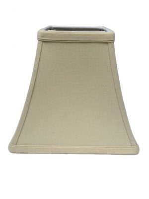 Upgradelights Beige Linen 8 Inch Square Bell Candle Stick Clip On Lampshade 4x8x7