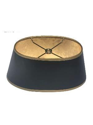 Black with Gold Shallow Oval 14 Inch Vintage Bouillotte Style Lampshade
