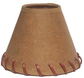 Oiled Parchment 5 Inch Tapered Drum Clip On Chandelier Lamp Shade with Stitched Trim