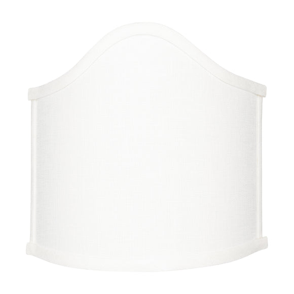 Wall Sconce Larger Shield Clip On Lamp Shade with Scalloped Design (White Linen)